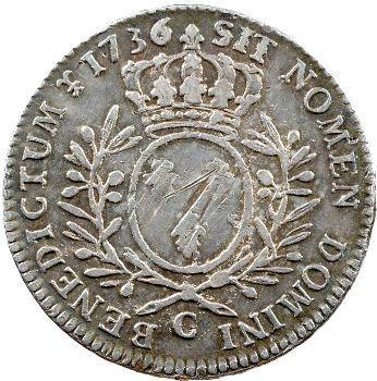 Louis XV, demi-écu aux rameaux d'olivier, 1736 Caen