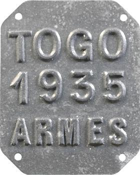Togo, plaque de taxe, Armes, 1935