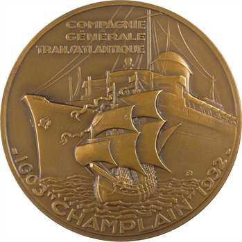 Delamarre (R.) : le paquebot Champlain (Compagnie Générale Transatlantique), dans sa boîte, 1932 Paris