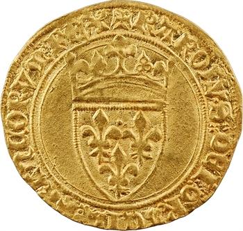 Charles VI, écu d'or à la couronne, 5e émission, Troyes (KAROLV.S)