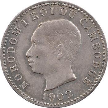 Cambodge, Norodom Ier, module de 1 franc Souvenir, 1902 Phnom Penh