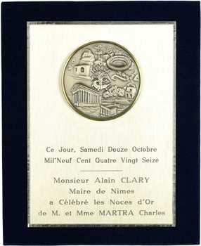 Ve République, plaque de noces d'or à Nîmes, 1996