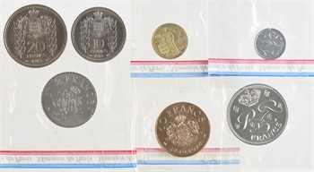 Monaco, Louis II et Rainier III, lot de 7 essai de 1 centime à 20 francs, 1945-1979 Paris