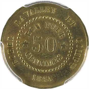 Suez (canal de), 50 centimes Borel, Lavalley et Compagnie, 1865, PCGS Genuine