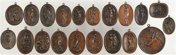 XIXe siècle (Louis-Philippe Ier ?), lot de 30 clichés : scènes antiques, nus, divers