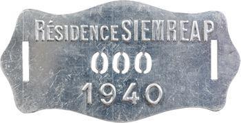 Indochine, Cambodge, Siemreap (Résidence de), plaque de taxe n° 000, 1940