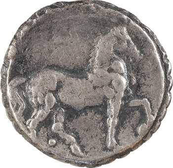 Carthage, double shekel serratus en billon, c.149-146 av. J.-C.