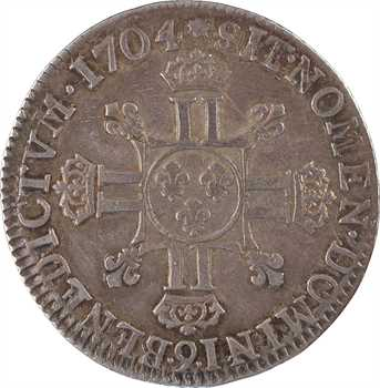 Louis XIV, quart d'écu aux huit L, 2e type, 1704 Rennes