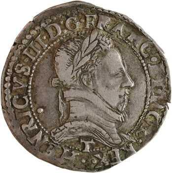 Henri III, demi-franc au col plat, 1587 Nantes