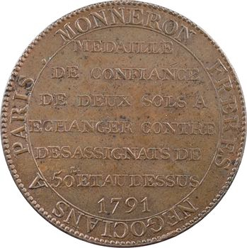 Constitution, deux sols de Monneron à la Liberté, An III, 1791 Birmingham