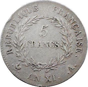 Consulat, 5 francs, An XI Paris