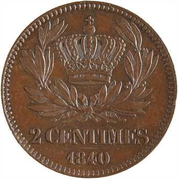 Louis-Philippe Ier, essai de 2 centimes, 1840 Paris