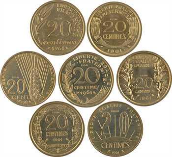 Ve République, série de 7 essais de 20 centimes (3 boîtes), 1961 Paris
