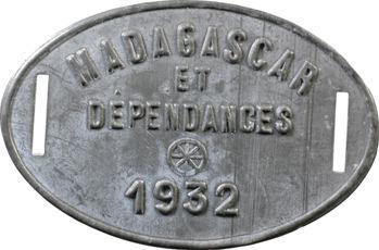 Madagascar, plaque de taxe, 1932
