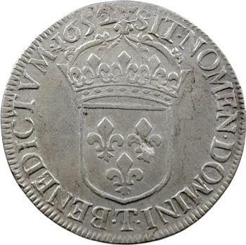 Louis XIV, écu à la mèche longue, 1652 Nantes