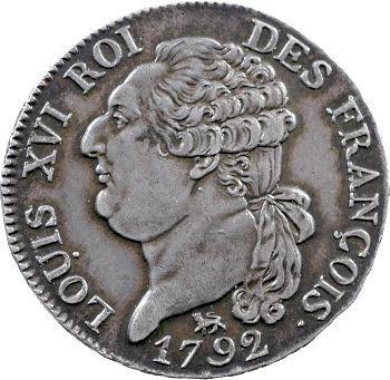 Constitution, demi-écu de 3 livres FRANÇOIS, An 4, 2d semestre, 1792 Paris
