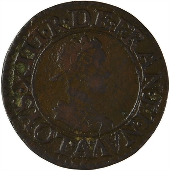 Louis XIII, denier tournois 1er type, 1617 Paris