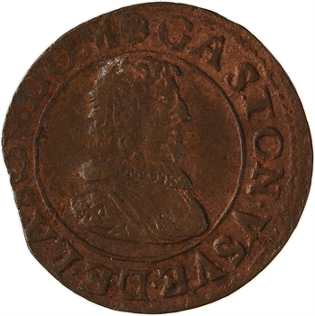 Dombes (principauté des), Gaston d'Orléans, double tournois 9e type, 1635 Trévoux