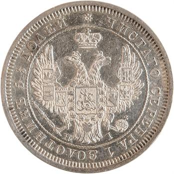 Russie, Nicolas Ier, 25 kopecks, 1854 Saint-Pétersbourg