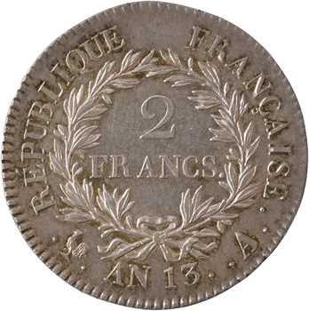 Premier Empire, 2 francs calendrier révolutionnaire, An 13 Paris