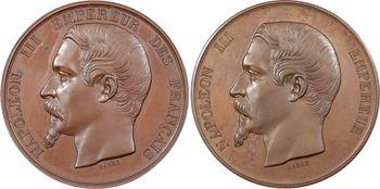 Second Empire, Montpellier, coffret de 2 médailles, Concours régional (et expositions) et Conseil Municipal, par Barre, 1860 Paris