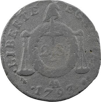 Convention, deux sols aux balances, métal de cloche, 1793 Metz