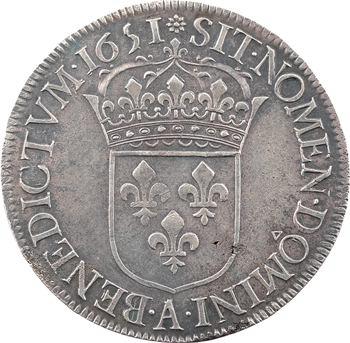 Louis XIV, écu à la mèche longue, 1651 Paris