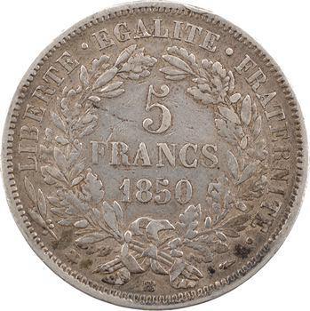 IIe République, 5 francs Cérès, 1850 Strasbourg