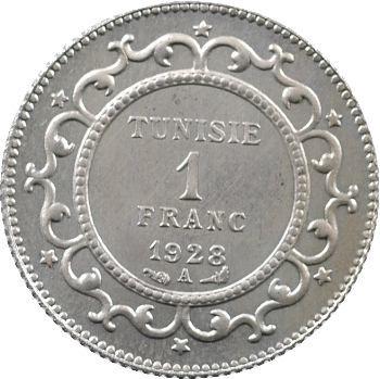 Tunisie (Protectorat français), Mohamed El Habib, Bey, 1 franc épreuve en cupro-nickel, 1928 Paris