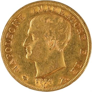 Italie, Napoléon Ier, 40 lire tranche en creux, 1814 Milan