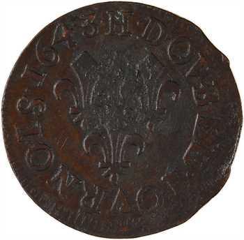 Louis XIII, double tournois, type de Warin, légende latine, 1643 La Rochelle
