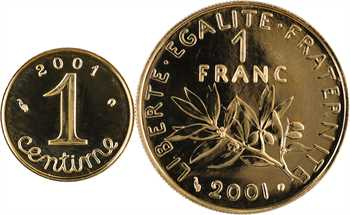 Ve République, lot de 1 franc Semeuse et 1 centime Épi en Or, Brillant Universel, 2001 Pessac