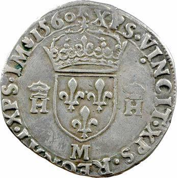 François II, teston au nom d'Henri II, à la tête nue 5e type, 1560 Toulouse