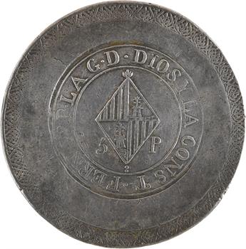 Espagne, Ferdinand VII, 5 pesetas, 1823 Palma de Majorque