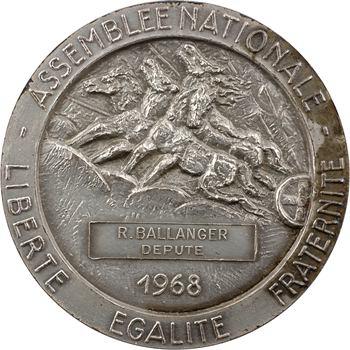 Ve République, médaille du député Ballanger, par M. C. Lavrillier, 1968 Paris