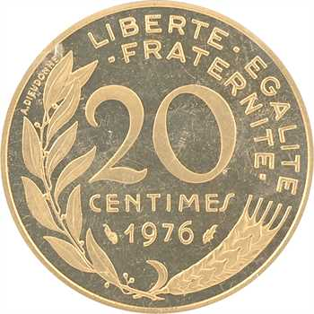 Ve République, piéfort de 20 centimes Lagriffoul en or, 1976 Paris