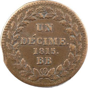Premier Empire, un décime à l'N couronnée, 1815 Strasbourg