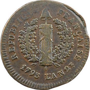 Convention, siège de Mayence, 2 sols trois rameaux, 1793