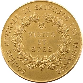 IIIe République, Société de sauvetage des naufragés (à Gouachet), en or, 1906 Paris