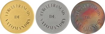 Madagascar, Cercle français de Vatomandry, lot de 3 jetons-monnaies de 10, 50 et 50 centimes, s.d