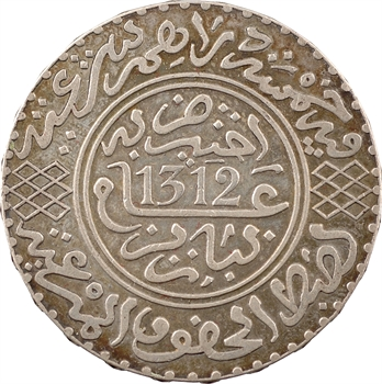 Maroc, Abdül Aziz I, 5 dirhams, AH 1312 (1894) Paris