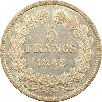 Louis-Philippe Ier, 5 francs IIe type Domard, 1842 Rouen