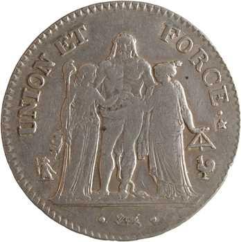Directoire, 5 francs Union et Force, An 7 Paris