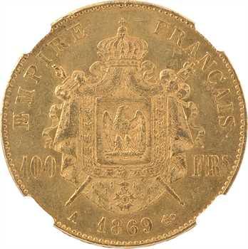 Second Empire, 100 francs tête laurée, 1869 Paris, NGC MS62