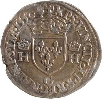 Henri II, demi-teston à la tête couronnée, 1550 Poitiers
