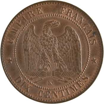 Second Empire, dix centimes tête laurée, 1861 Bordeaux