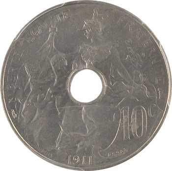 IIIe République, essai de 10 centimes Daniel-Dupuis perforé, en nickel, 1911 Paris, PCGS SP Genuine