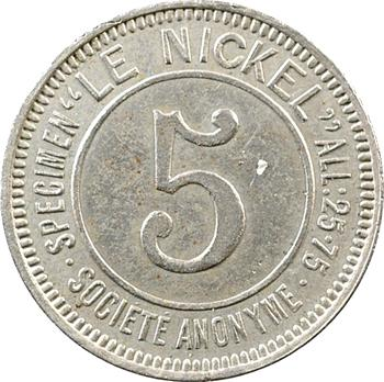 Nouvelle-Calédonie, Société le Nickel, 5 centimes, 1881