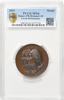 États-Unis, les Héros de la Liberté, médaille commémorative émise par le cercle britannique de Paris, par Rogat et Borrel, 1834 Paris, PCGS SP64