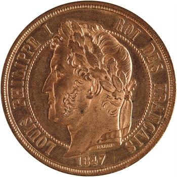 Louis-Philippe Ier, essai de cinq centimes à la charte, 1847 Paris